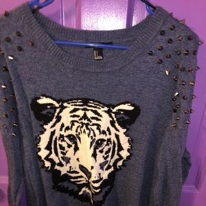 Forever 21 Tiger Sweater with studs